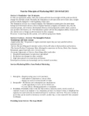 Note for Principles of Marketing MKT 320-04 Fall 2011