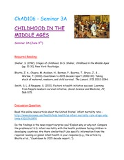 Seminar 3A - Childhood in the Middle Ages