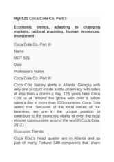 Mgt 521 Coca Cola Co part 3 Economic trends, adapting to changing markets, tactical planning, human