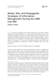 Media, War, and Propaganda