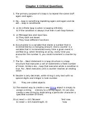 Chapter 4 Critical Questions