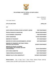 City of Cape Town v South African National Roads Authority Limited & others