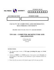 TSN1101-Mid-term Test I  main solutions-December 2012
