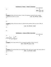 Stoichiometry Volume Volume Calculations