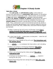 Cell Growth and Reproduction (Lab).docx - 1 During which ...