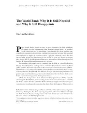 FIN4651 Module8 Reading1 -The World Bank- Why It Is Still Needed  and Why It Still Disappoints.pdf