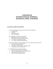 Chapter 18 INTERNATIONAL BANKING RESERVES, DEBT, AND RISK