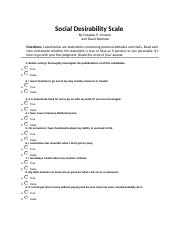 Crowne and Marlowe Social Desirability Scale QUESTIONNAIRE