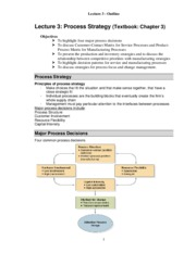 Lecture 3_Outline - Process Strategy
