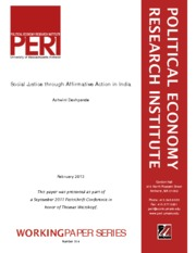 Social Justice through Affirmative Action in India (Thomas Weisskopf Festschrift Conference Paper) -