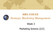 Lecture 3 Marketing Science for Strategic Marketing Management