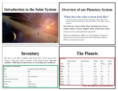 Lecture 6 - Introduction to the Solar System