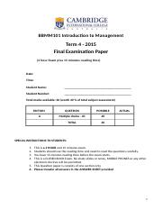 BBMM101  FINAL  Exam - T4, 2015  with solutions