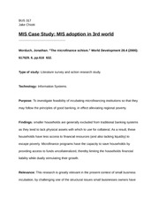 BUS 317 Introduction to Management Information Systems - MIS Case Study: Micro-finance to encourage