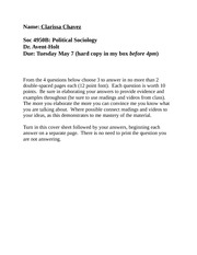 Political Sociology Essay Questions and Answers