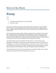 Word of the Week Essay