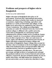 Problems and prospects of higher edn in Bangladesh.docx