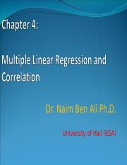 Chapter 4_Multiple Linear Regression and correlation