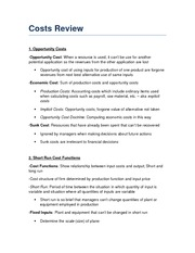 Costs Review