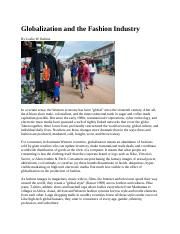 globalization fashion industry