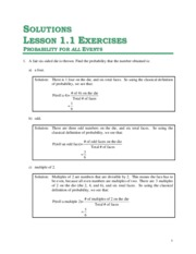 Solutions for Unit 1 - Lesson 1.1