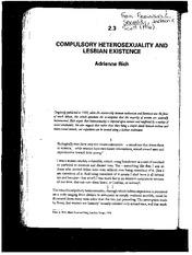 Compulsory heterosexuality and lesbian existence full text