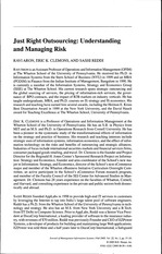 MIS - Tutorial 08 - Aron 2005 - Just Right Outsourcing Understanding and Managing Risk