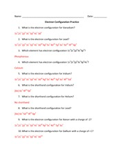 electron configuration worksheets answer key electron configuration of. Black Bedroom Furniture Sets. Home Design Ideas