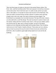 There are three types of orders or columns in the ancient Greece culture