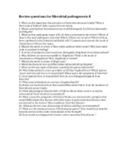 Review questions for Microbial pathogenesis II