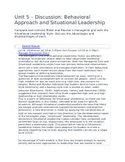 Unit 5 – Discussion- Behavioral Approach and Situational Leadership.docx