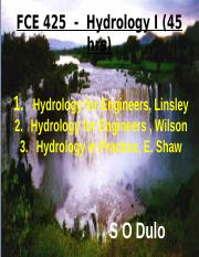 Module 1- Hydrological Cycle