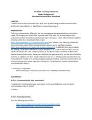Week 3_Assignment 3_Assertive Communication Worksheet