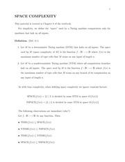Lecture 7 Notes - Space Complexity