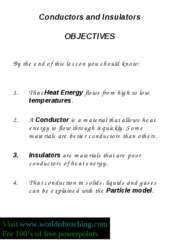 Starter conductors and insulators