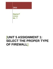 Unit 5 Assignment 1_Select the Proper Type of Firewall