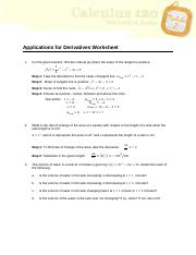 Applications for Derivatives Worksheet