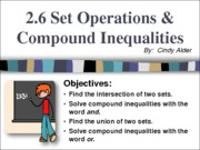 2.6 Set Operations and Compound Inequalities