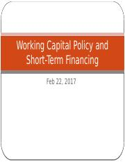 Ch 16 Working Capital Policy and Short-term Financing (1)