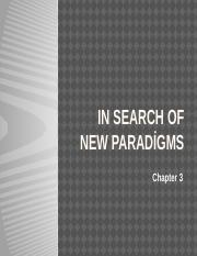 Week 2 In search of new paradigms