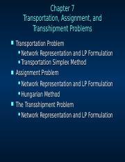 MS10_07 - Transportation Transshipment Assignment (Hisham