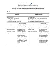 HUM 100 Worksheet Realism, Impressionism, and the Modern World.docx