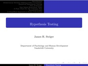 Psychology 2101_Lectures Notes on Hypothesis Testing