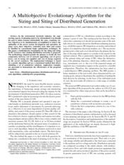 A Multiobjective Evolutionary Algorithm for the Sizing and Siting of Distributed Generation