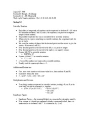 Chemistry Notes - August 27, 2006 (1.8-1.9)