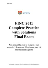 Practice Final Exam with Solutions