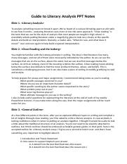 Guide to Literary Analysis PPT Notes