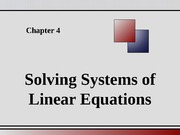 Chapter 4 - Solving Systems of Linear Equations