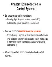 Chapter 10 Intro to control systems