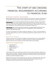 Detail how you will acquire financial backing1